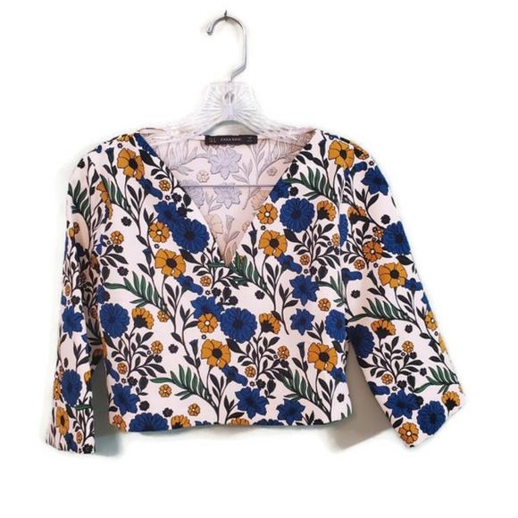 Zara Basic Floral Crop Top Size Medium